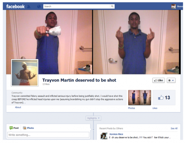 "Racist Creates ""Trayvon Deserved To Be Shot"" Facebook Page"