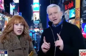 During a live New Years Eve broadcast on CNN, comedian Cathy Griffin made Anderson Cooper uncomfortable while gesturing oral pleasure tactics on him.