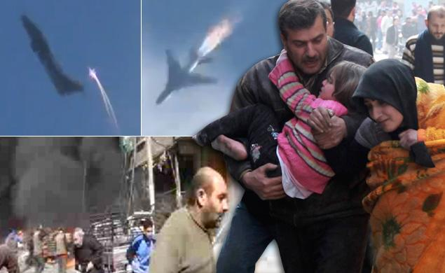 VIDEO: Rebels shoot down Syrian warplane after deadly air strike over Damascus suburb
