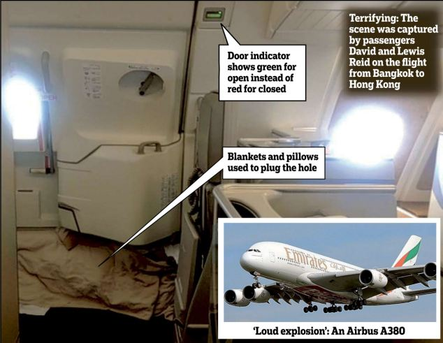 Terror at 27,000ft: crew plug A380 superjumbo door with blankets after it 'blows open midflight'