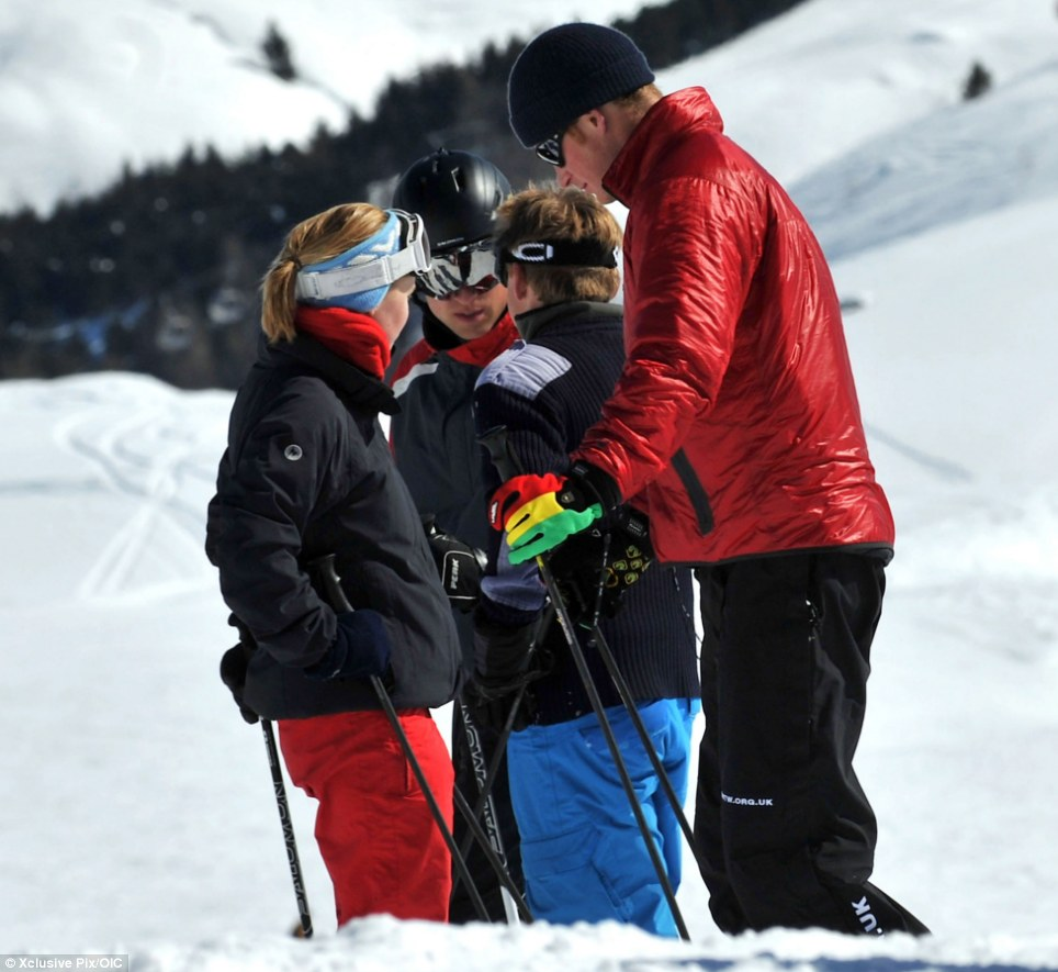 I wish I was on the slopes! Pregnant Kate misses the cable car as William and Harry strap on their skis on winter break in Swiss Alps