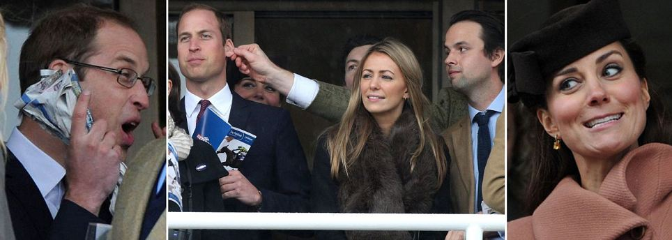 Ear, who's the tweaker? How William's friend grabbed his attention at the races… much to Kate's amusement