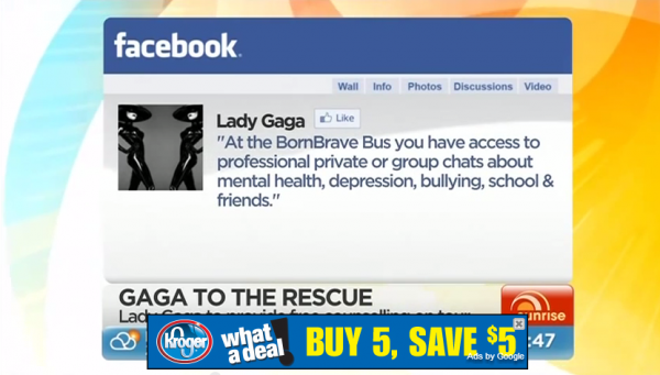 Gaga offers fans free counselling
