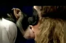 Blindfolded girl kisses monkey without knowing!